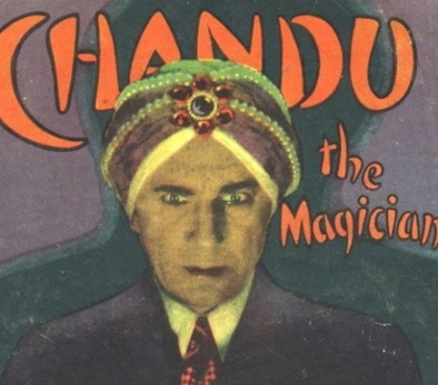 Chandu the magician wearing goofy hat.