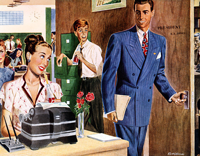vintage man waking into office looking at secretary illustration