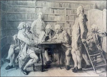 Benjamin franklin junto meeting of men library drawing.