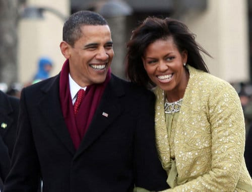 barack obama wearing red scarf with michelle
