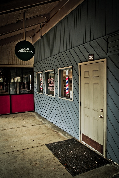 Clay barbershop entrance.
