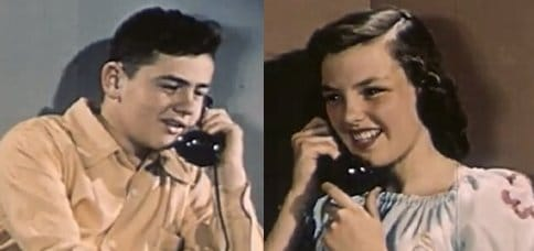 Vintage young man talking on phone with woman.