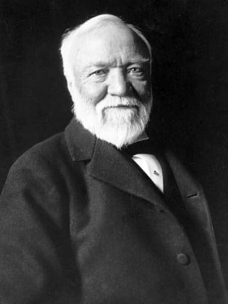 older andrew carnegie portrait chest up white beard