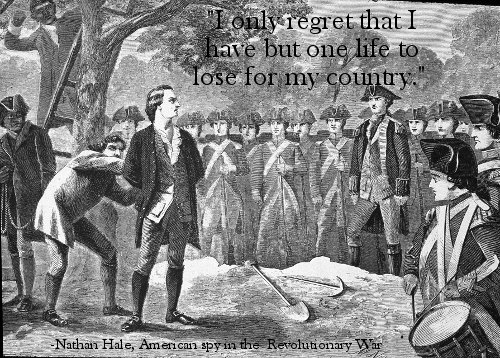 nathan hale last words one life to lose for country