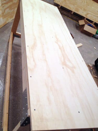 Top view of plywood bench.