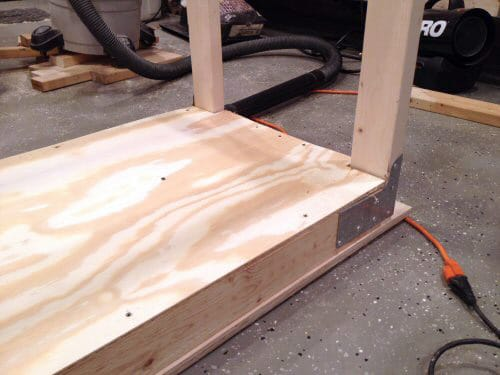 Back view of plywood bench.