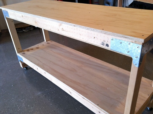 Side view of homemade plywood bench.