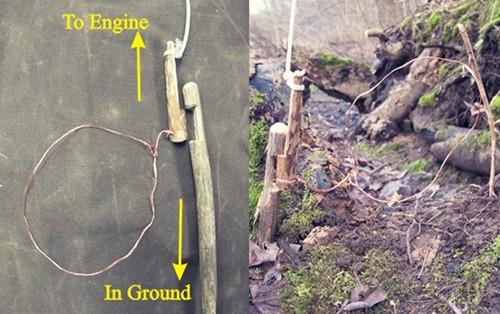 Carved noose for snare hunting.
