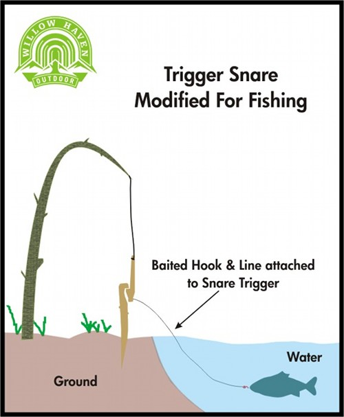 Trigger snare modified for fishing illustration.