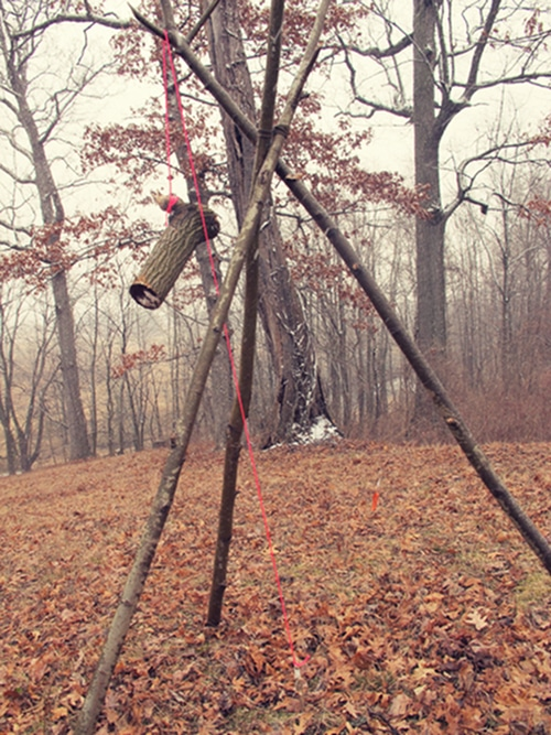 Tripod noose is ready for snare hunting.