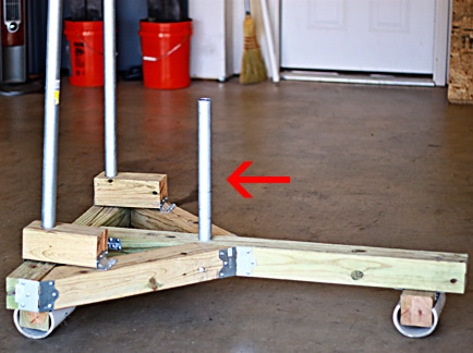 Homemade prowler sled for working out conditioning.
