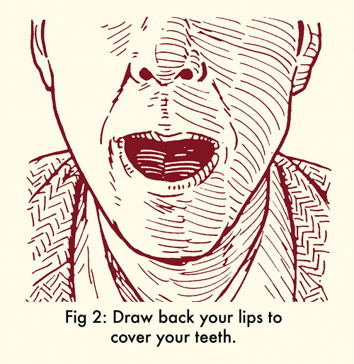 How to whistle with fingers pull lips back.