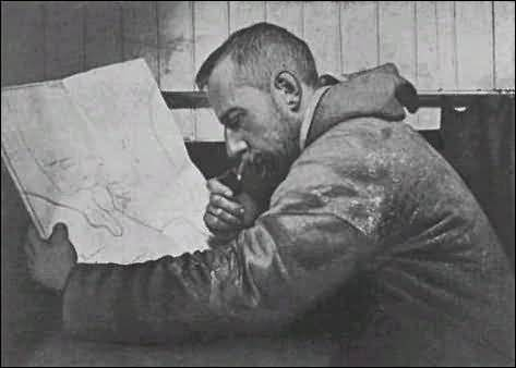 amundsen antarctic explorer looking at paper map