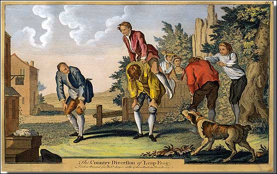 vintage 1700s group of men playing games in yard painting