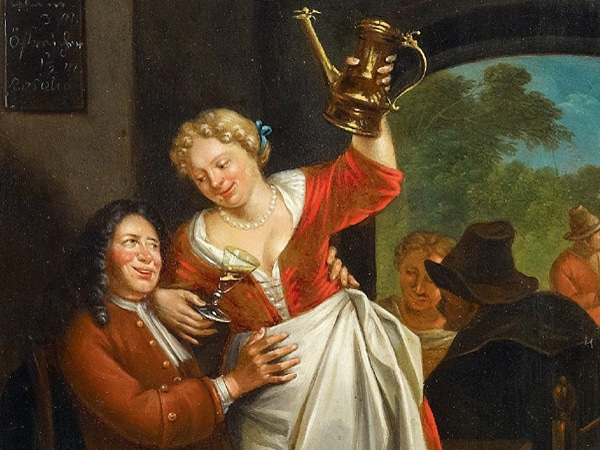 vintage painting woman flirting with man in tavern