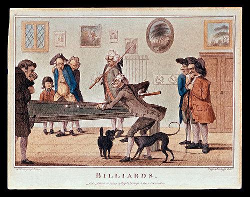 Men playing billiards illustration.