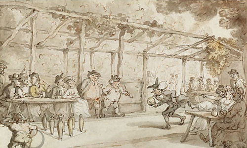 vintage painting of people in a bar playing games