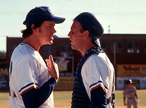 bull durham kevin costner catching arguing with