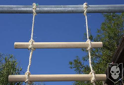 Fitted the wooden pieces of rungs in two ropes.