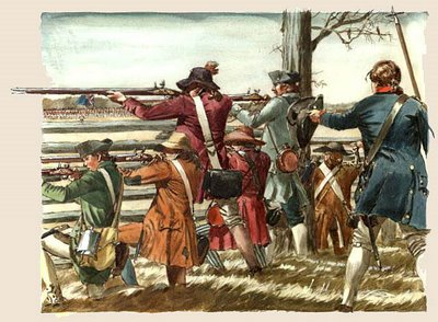 men soldiers revolutionary war aiming rifles
