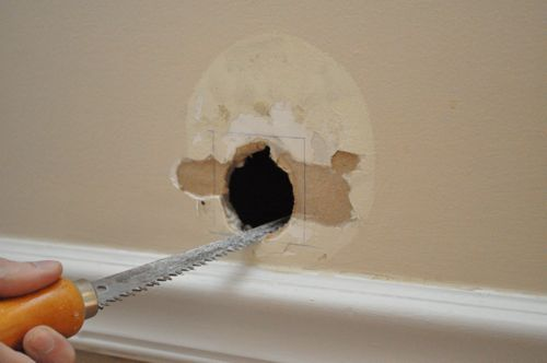 It May Seem Counterintuitive To Make The Hole Ger But Cutting A Circular Or Other Oddly Shaped Piece Of Drywall Is More Work Than S Worth