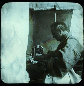amundsen antarctic explorer crew member sewing tents