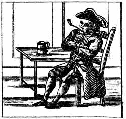 engraving of man at tavern drinking smoking pipe