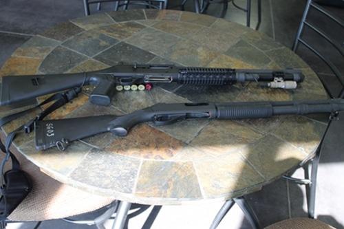 Vintage types of shot guns pump-action and semi-automatic shotguns.