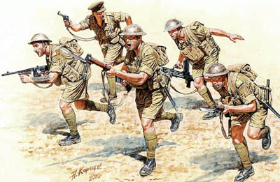 Army soldiers having guns fighting in battle illustration.