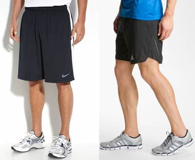Men wearing athletic shorts in different styles.