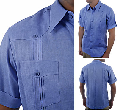 Blue short sleeve guayabera shirt ribbed pockets.