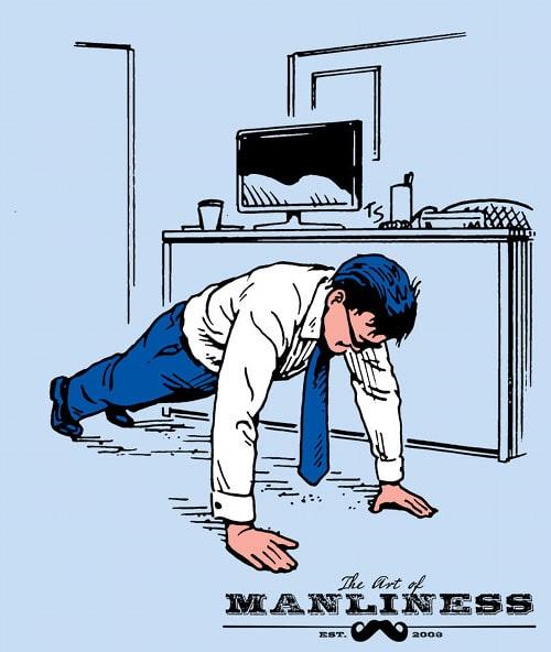 businessman doing push ups in office illustration