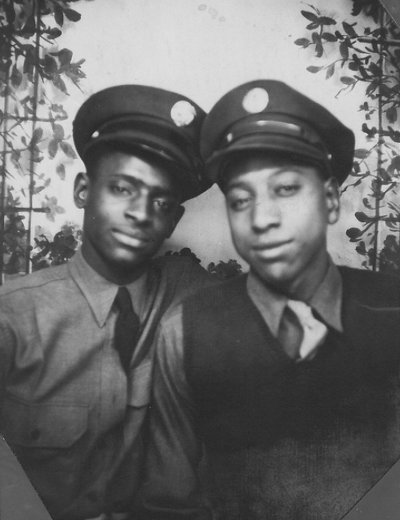 Vintage two army soldiers close up black and white illustration.