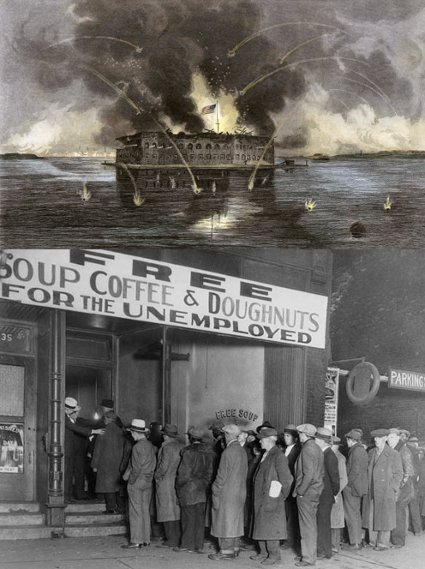 War zone on an American ship and a queue outside a coffee shop.
