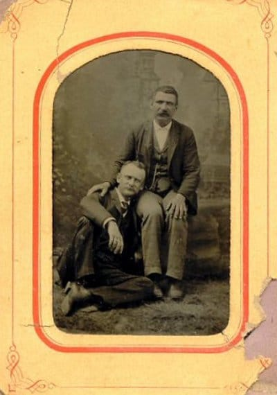 Vintage two men are siting black and white photo illustration.
