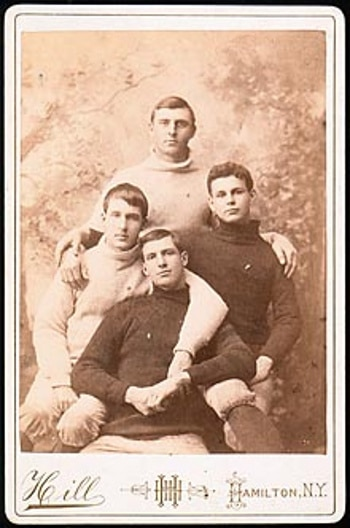 Vintage four men are siting on chair black and white photo illustration.