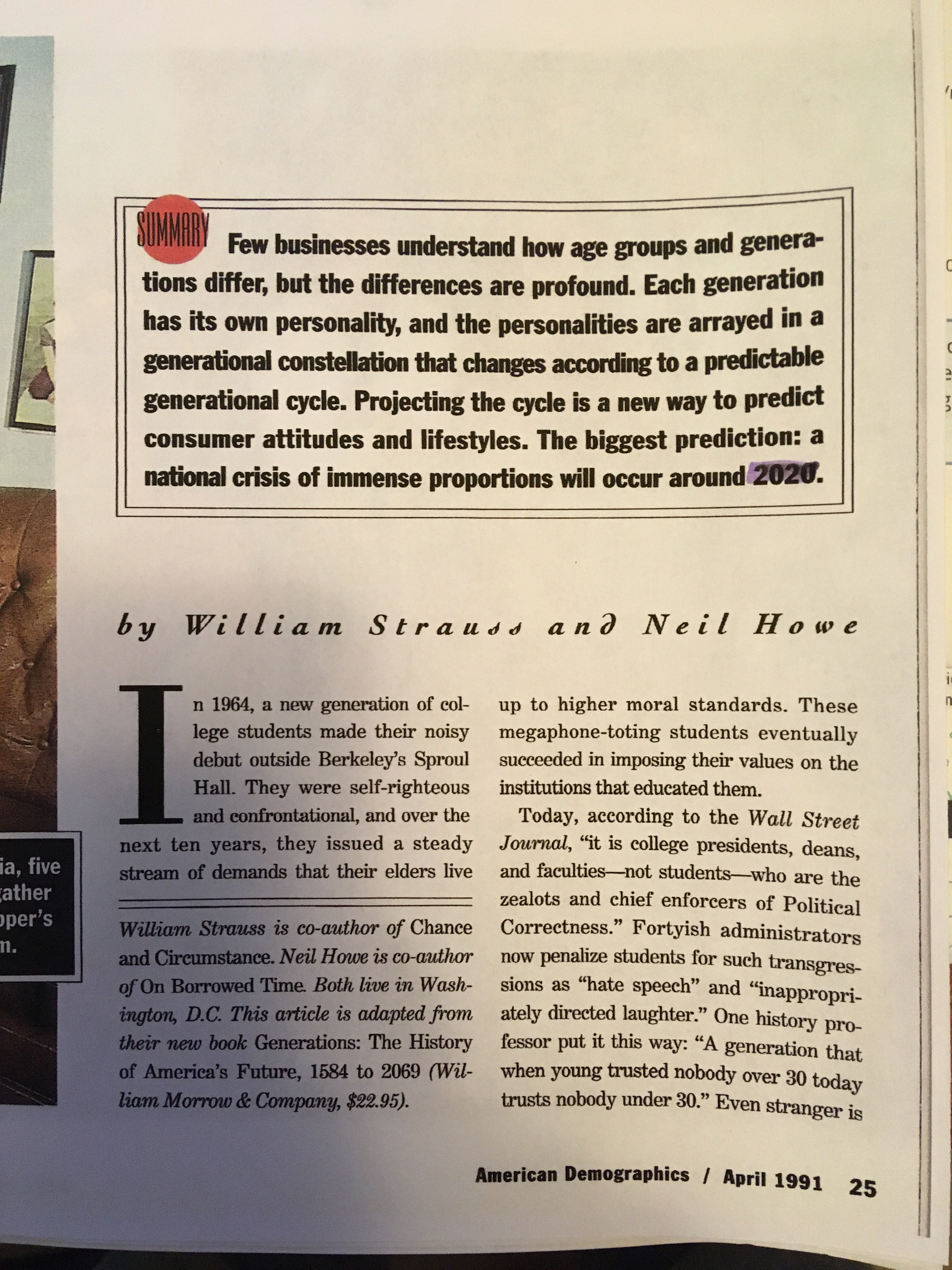 It is the front page of American demographics by William Strauss and Neil Howe.