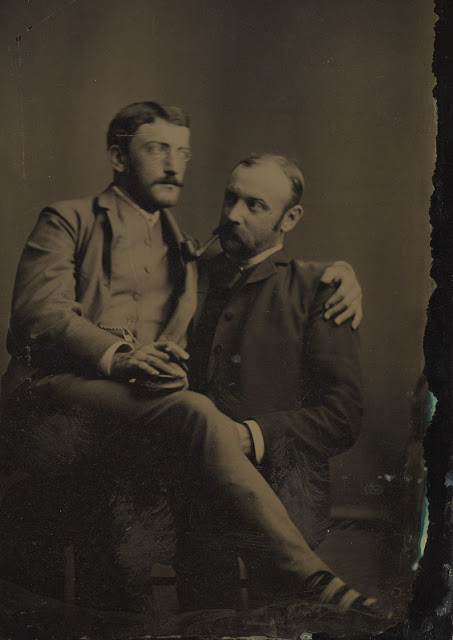 Vintage two men are siting and looking around black and white photo illustration.