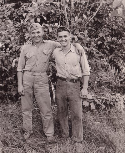 Vintage two men standing and smiling black and white illustration.