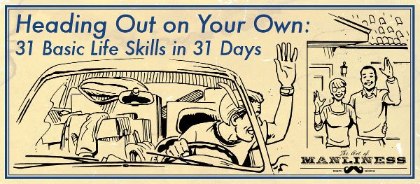 young man in car leaving home for college illustration