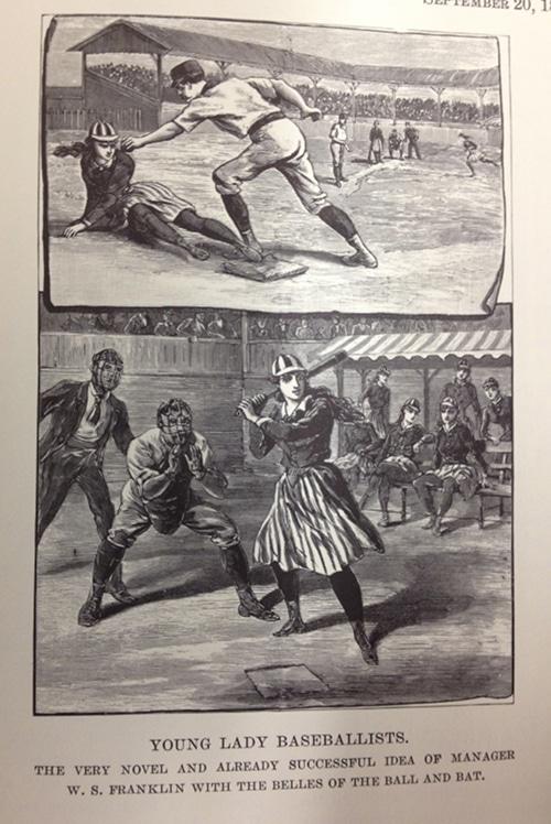 Vintage women playing baseball.