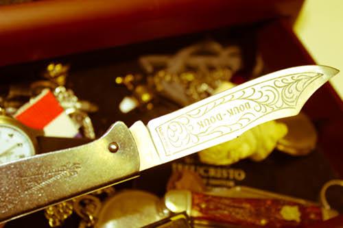 Vintage douk pocket knife illustration.