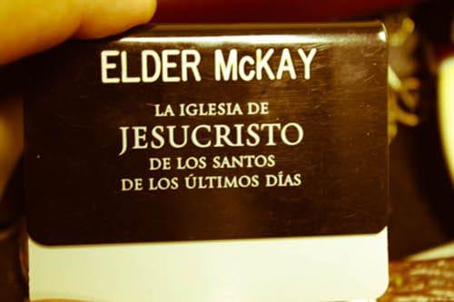 Vintage mormon missionary name tag illustration.