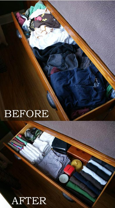 dresser drawers before after standing up clothes