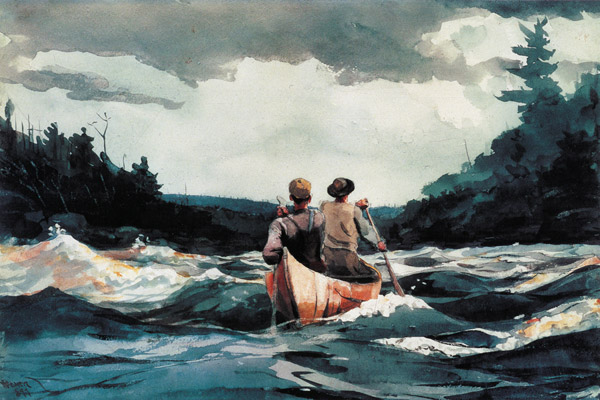 painting two men in canoe on wide river gray sky