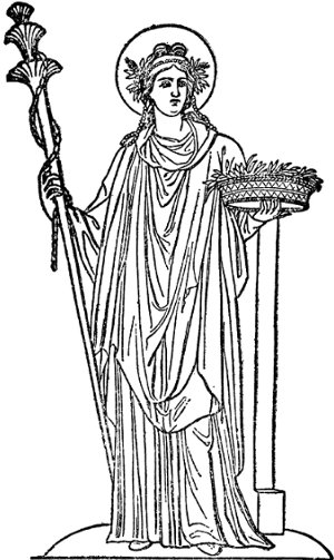 demeter ceres greek goddess with scepter and crown