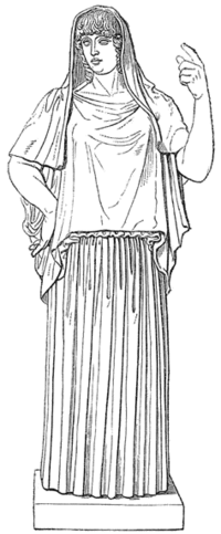 hestia vesta greek goddess with robe headdress illustration