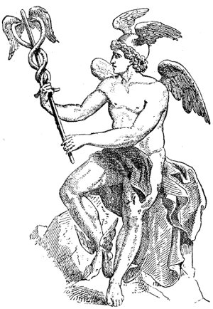 Hermes (Mercury) black white drawing wings