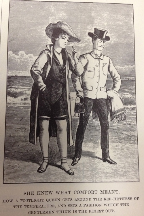 Vintage man and woman standing on the shore and wearing hats.