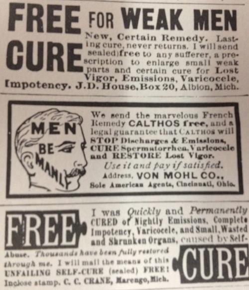 Vintage free for weak men cure illustration.